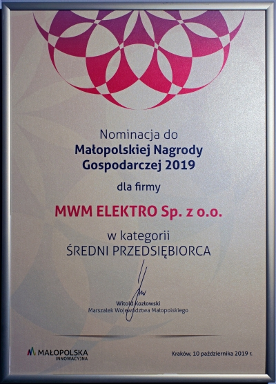 MWM Elektro honoured during the 2019 Małopolska Economic Award Ceremony
